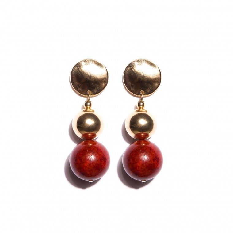 Medium coral earring and gold-plated metals