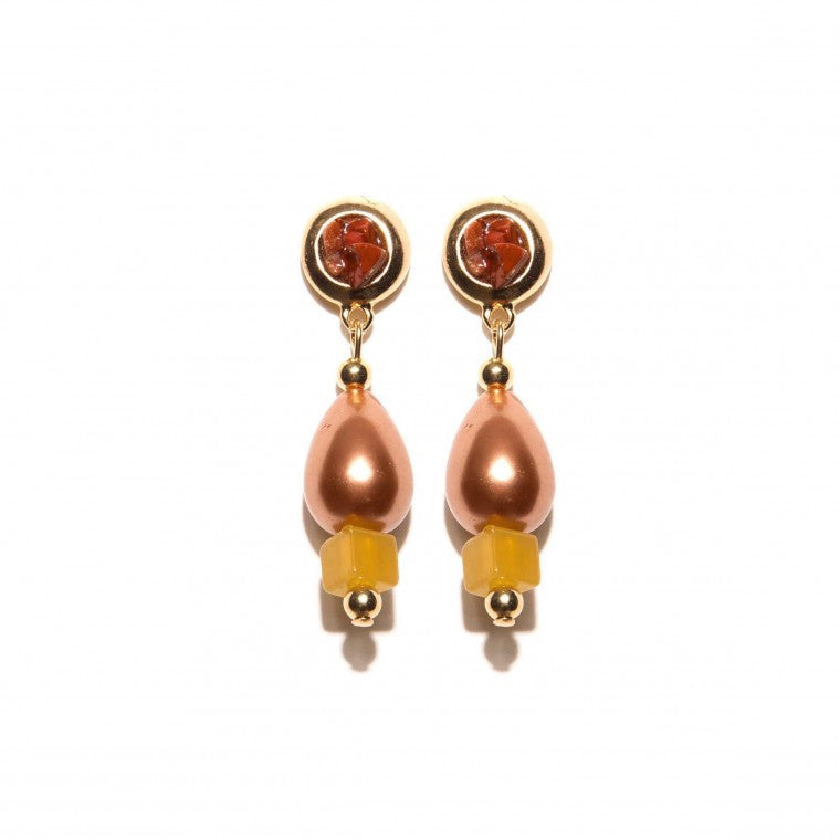 Medium Earring Pearl shell champagne color, Yellow Agata Stone, Red Jasper Stone Gravel and gold-plated metals