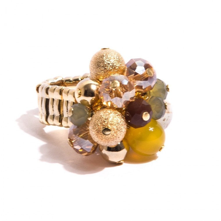 Ring Zionite stones, Quartz, pearl shell, crystals and gold plated metals