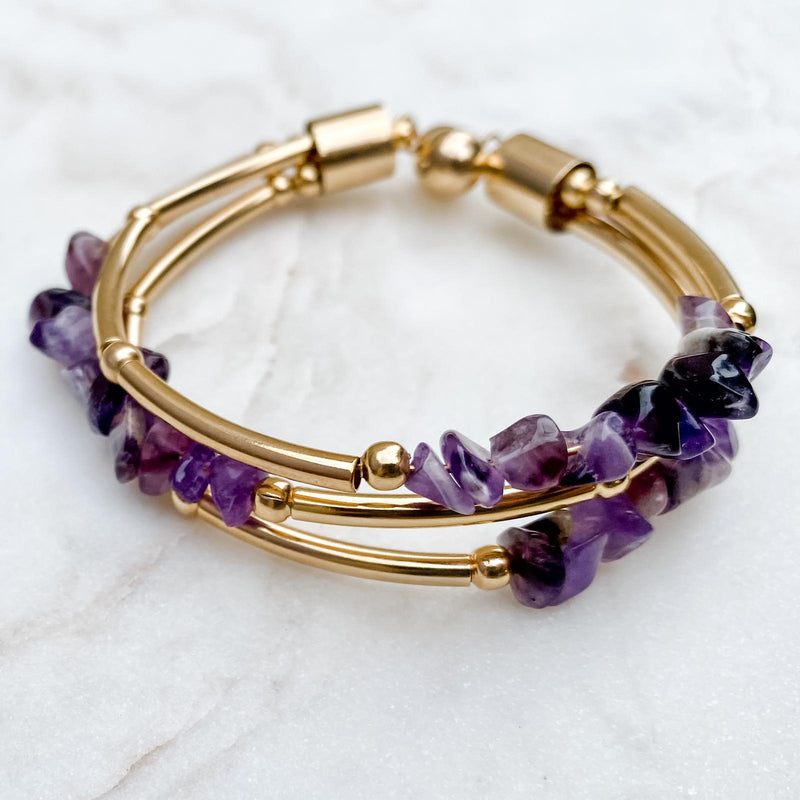 Natural Amethyst Stone bracelet and gold-plated metals