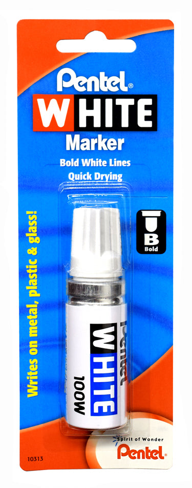 Pentel WHITE Markers 100W, Broad Tip