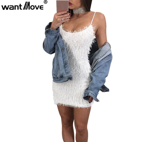 Wantmove 2018 autumn winter wear women sexy clueless mini dress bodycon club camisole dresses for women fashion vestidos JZ081