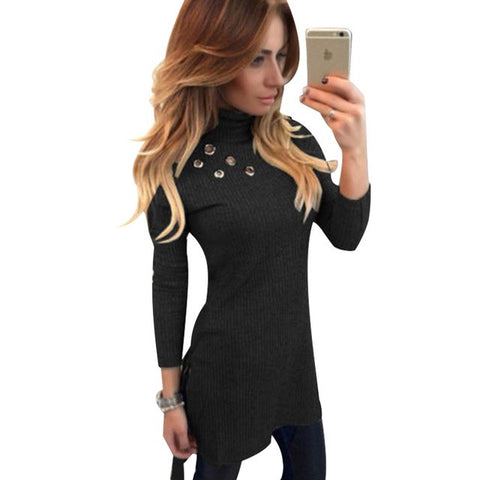 Fashion Women Top Tees Hole Knitted Turtleneck T-shirt Slim Sexy Long T shirt Women Pink Tops Kawaii Tshirt Plus Size Women Top