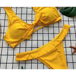 Knot yellow bikini set high cut swimsuit 2018 Push up thong women swimwear Sexy bathing suit bathers micro bikini two-piece suit