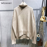 Weinsky Oversized Women knitted Sweater And Pullovers Cashmere Korean Fashion Ladies Sweater Casual Women Jumpers Sweaters
