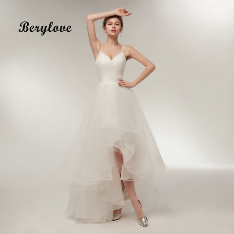 BeryLove Simple Ivory High Low Wedding Dress 2018 V Neck Women Wedding Gowns Long Cheap Plus Size Wedding Dresses For Wedding