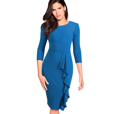 Elegant Ruffles Solid Color Fitted Women Office Business Dress Casual Autumn Winter Wear to Work Dress EB477