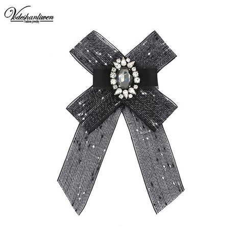 Vodeshanliwen Trendy Bowknot Brooches for women Accessories Fashion Handmade Brooches Dress wedding dress Pins Shirt accessories