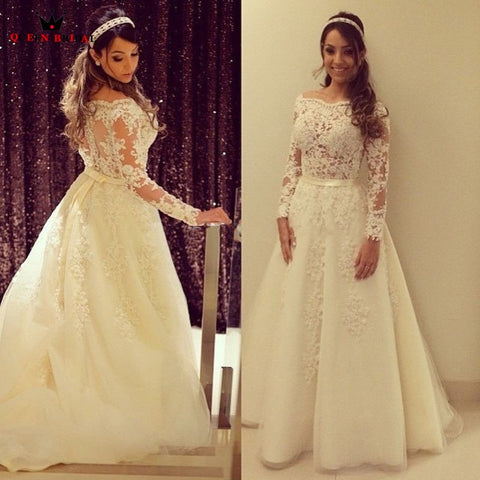 Custom Made A-line Long Sleeve  Tulle Lace Beading Elegant Formal Women Wedding Dresses 2019 New Wedding Gown NY734