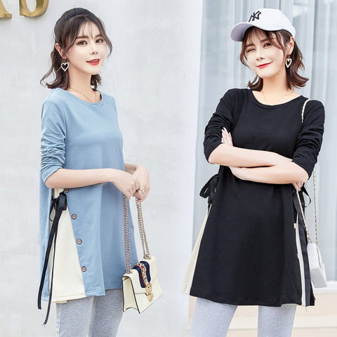 Autumn and winter wear new wave mom Korean fashion stitching shirt pregnant women dress