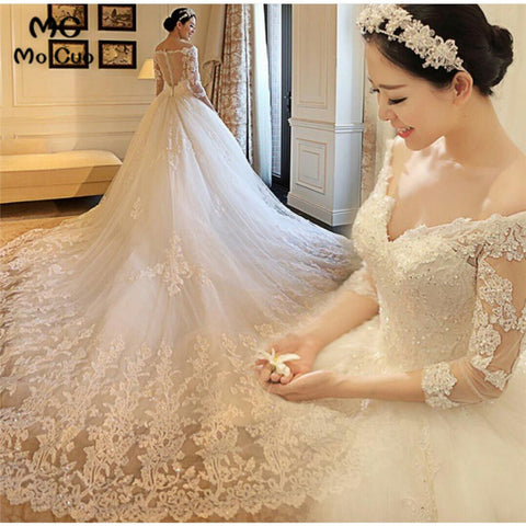 2018 Luxuries Bridal Gown Ball Gown see though back zipper Cathedral Train Appliques Lace Tulle women wedding Dresses