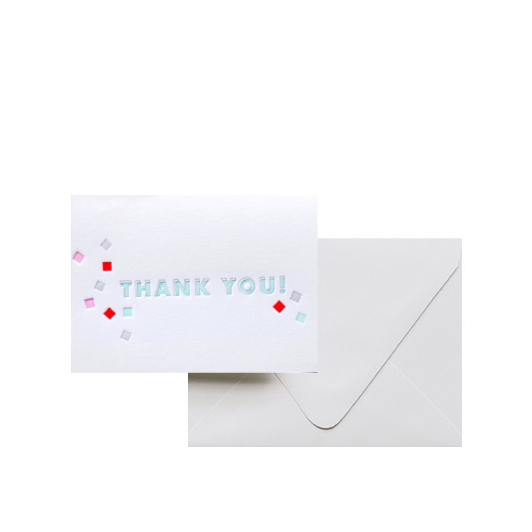 Letterpress Card - Thank You Confetti