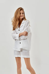 Paper White Linen Pajama Set with Shorts