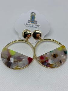 Multi Colored Gold Acrylic Earring