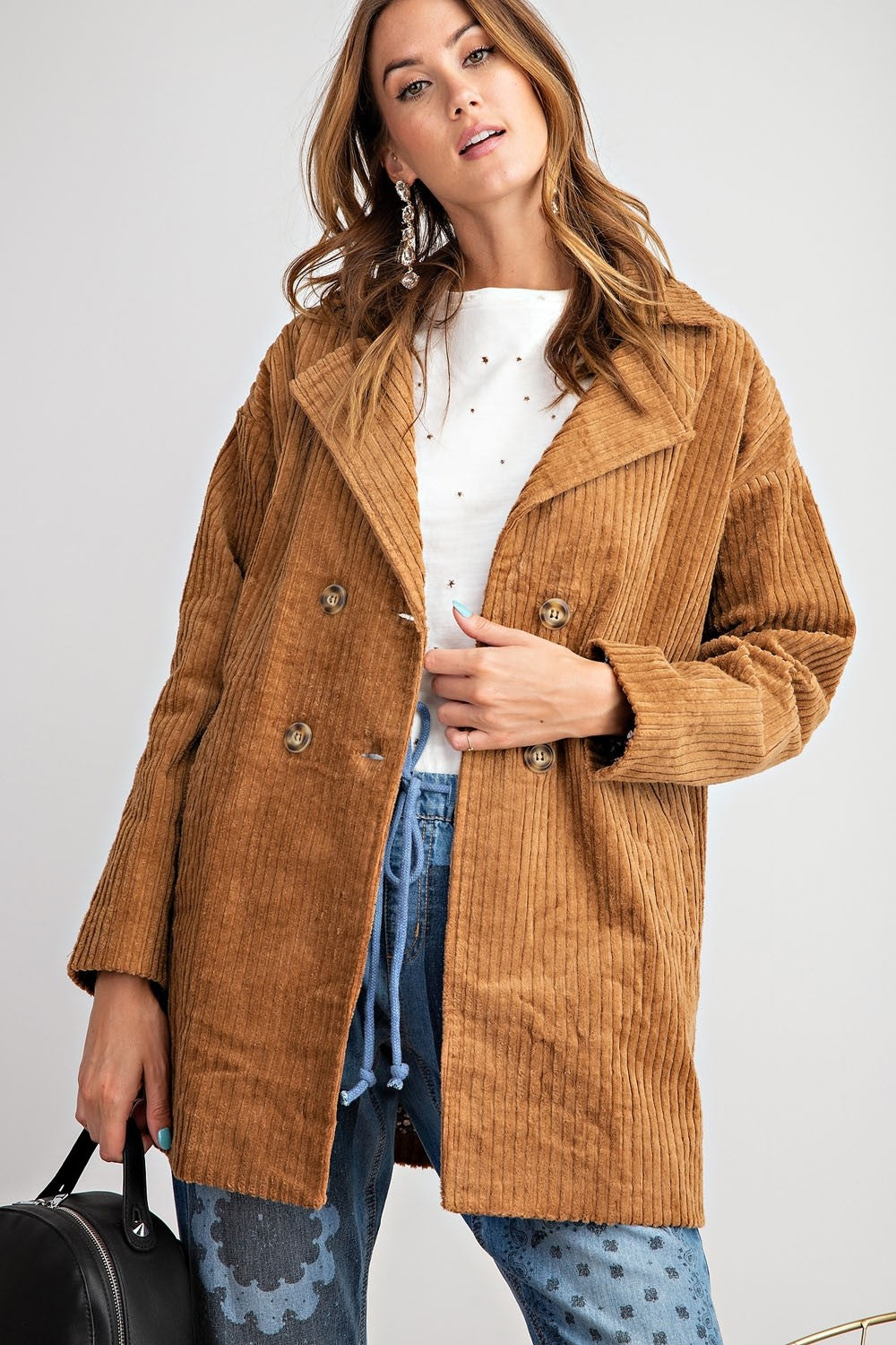 Corduroy Knee Length Coat