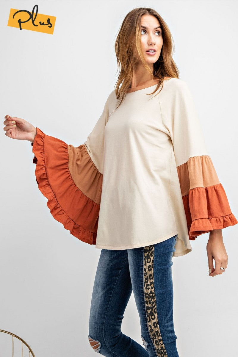 Ruffled Sleeve Top Plus