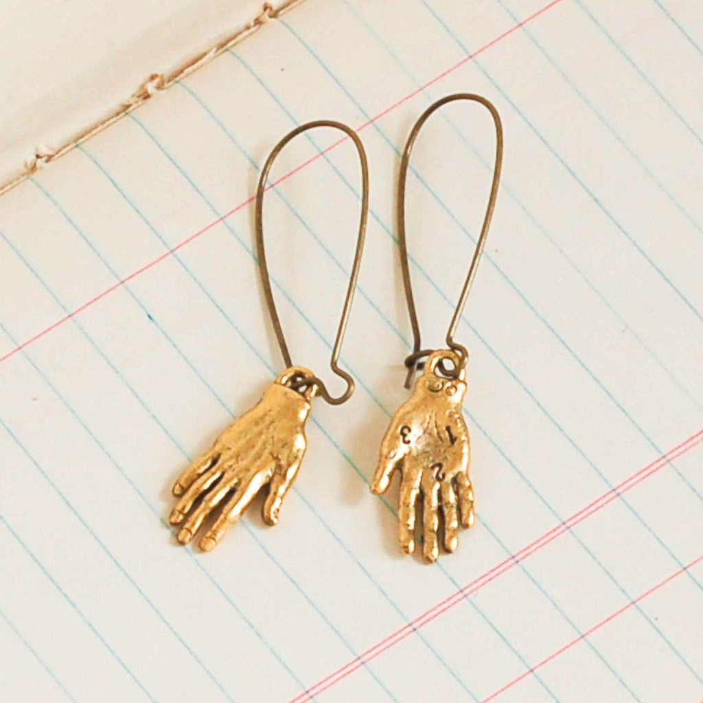 Gold Long Boho Palm Reader Earrings