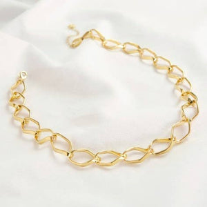 Diamond Link Gold Statement Necklace