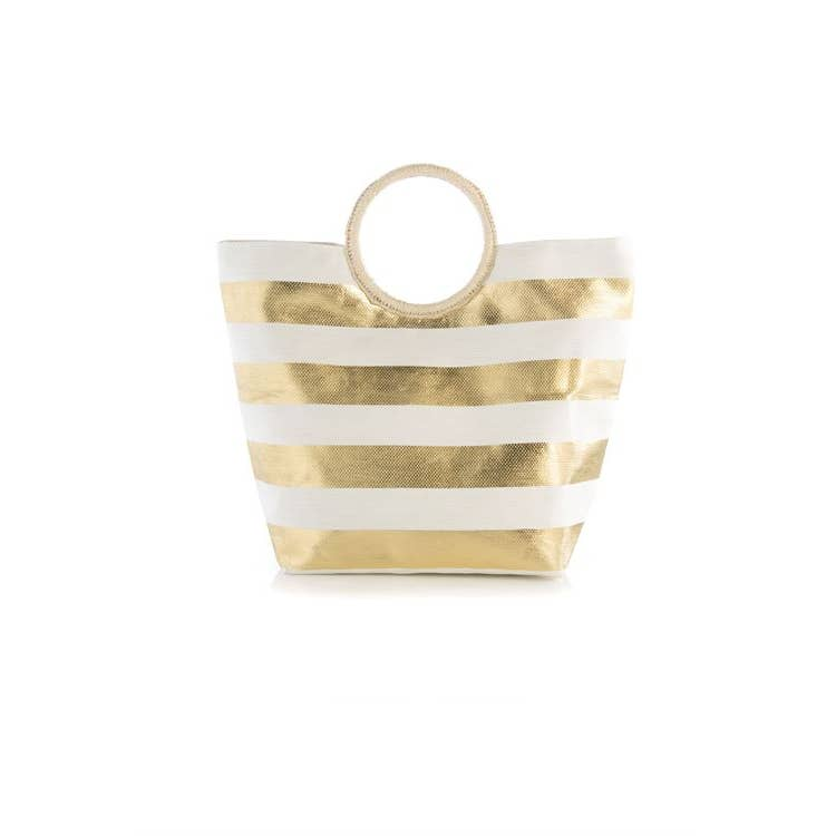 Striped Gold Tote Bag
