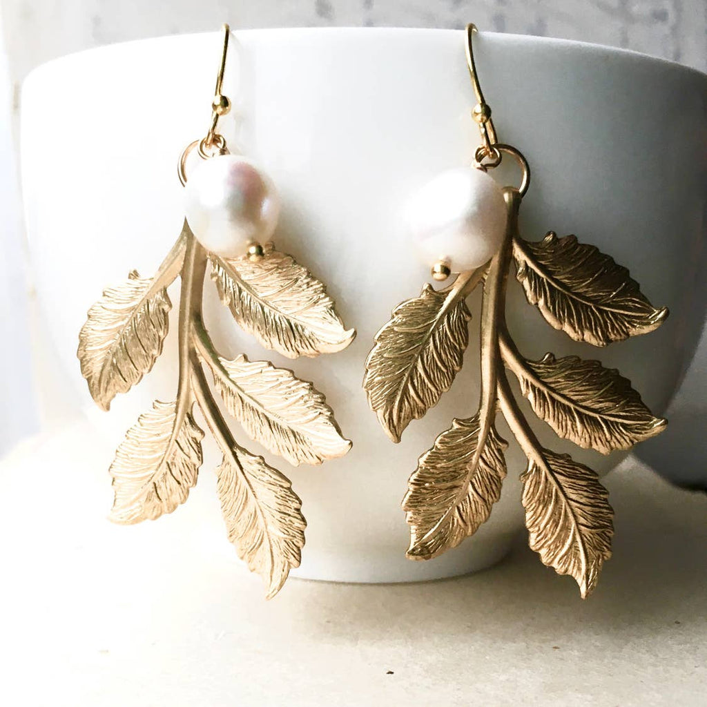 Botanical Leaf Pearl Earrings