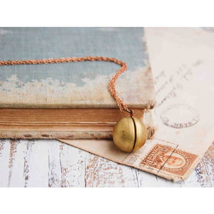 Brass Round Secret Message Locket Pendant 22 Inches