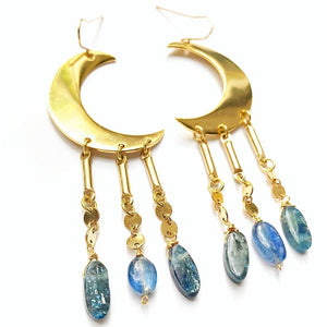 Kyanite Crystal Celestial Moon Earring