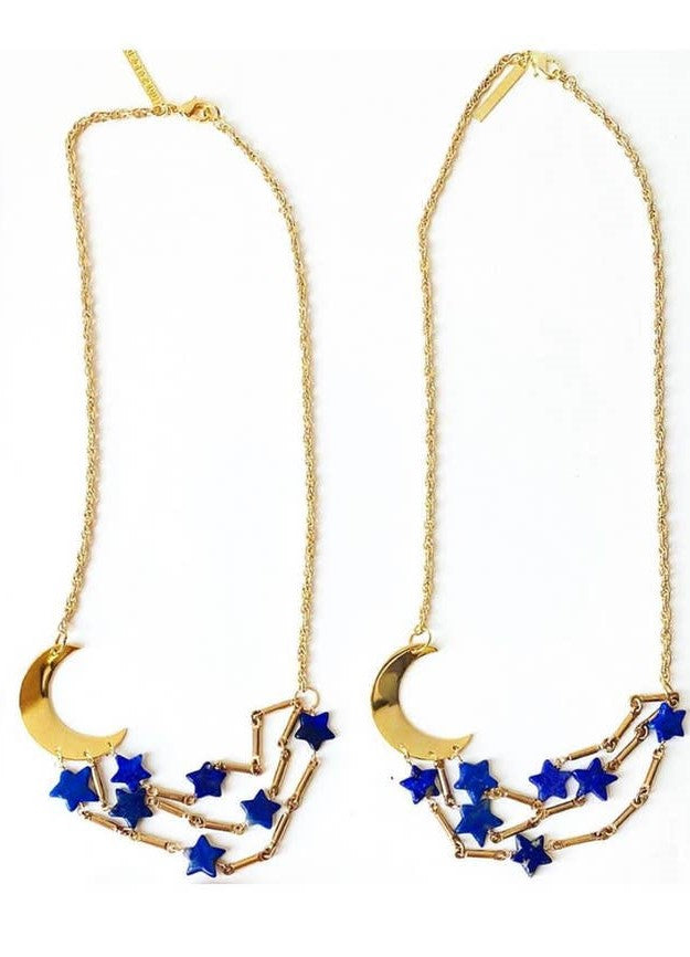 Lapis Celestial Moon and Star Necklace