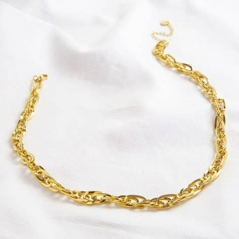 Oval Link Statement Gold Chain Necklace
