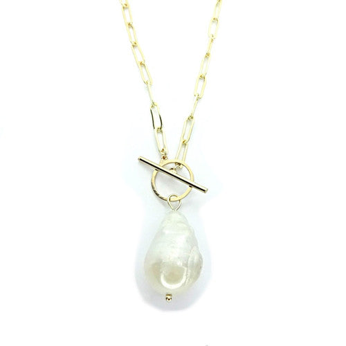 Baroque Pearl Paper Clip Toggle Necklace