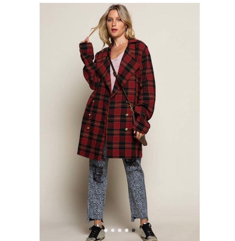 Cranberry Plaid Jacket