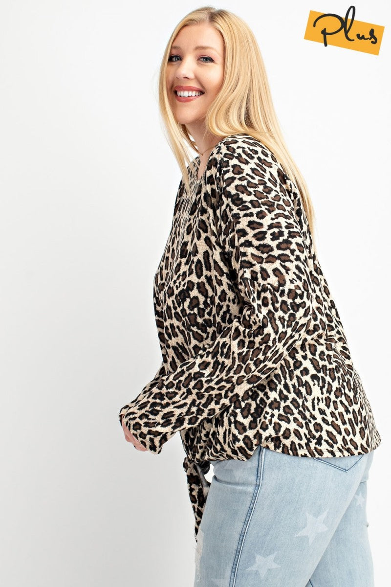 Leopard print plus size top