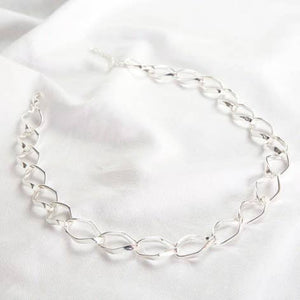 Diamond Link Silver Statement Necklace