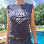 Love is Our Super Power Navy Blue Soft Unisex Tee