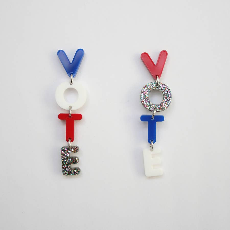 Vote Acrylic Dangle Earrings