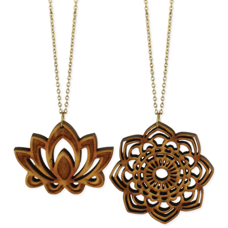 Wood Lotus and Mandala Pendant Necklace