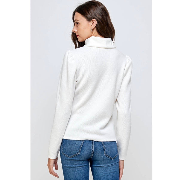 Mock neck puff sleeve knit top