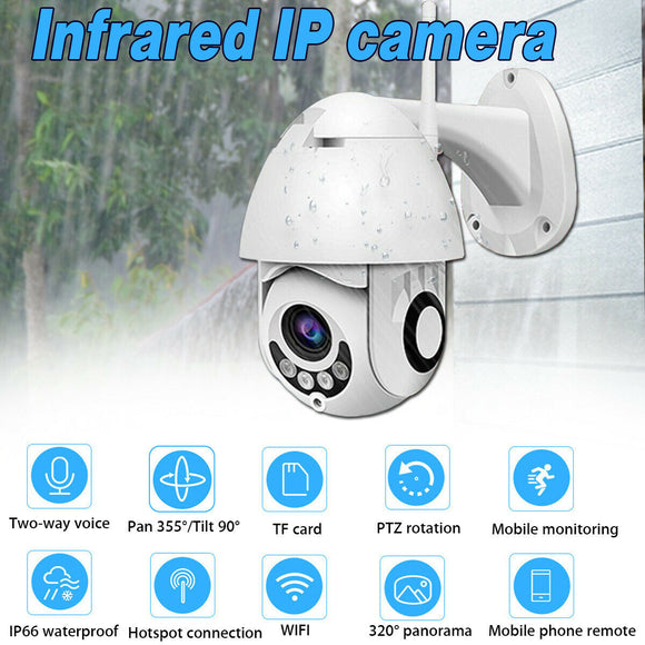 Outdoor Waterproof WiFi PTZ Pan Tilt 1080P HD Security IP IR Camera Night Vision - Lifafa Denmark