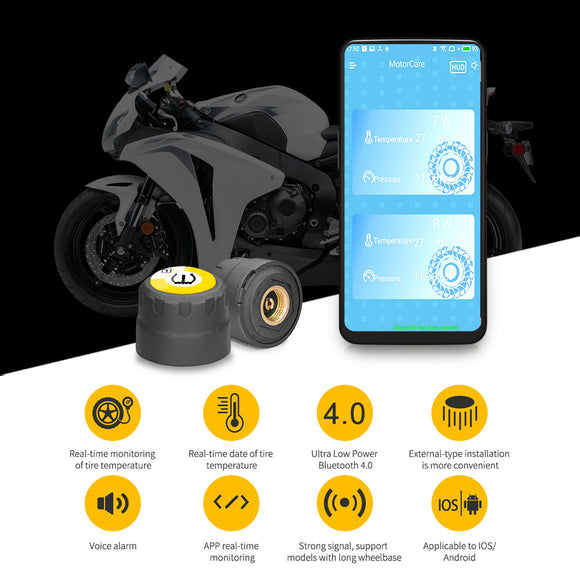 Motorcycle External installed Bluetooth 4.0 TPMS for Android and iOS - Lifafa Denmark