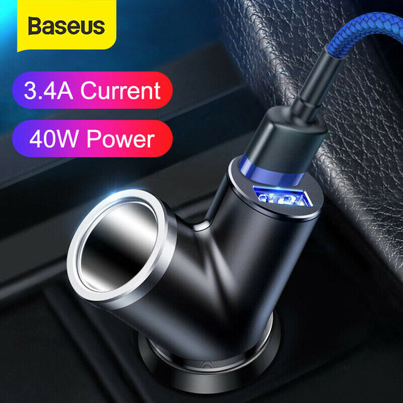 Baseus 3.4A Dual USB Car Cigarette Lighter Adapter Charger 2 Way Socket Splitter - Lifafa Denmark