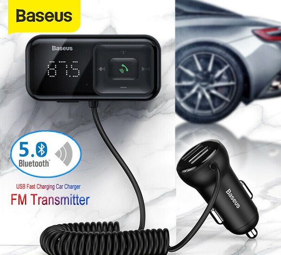 Baseus Wireless Bluetooth 5.0 FM-transmitter Bilsæt Radioadapter USB-oplader