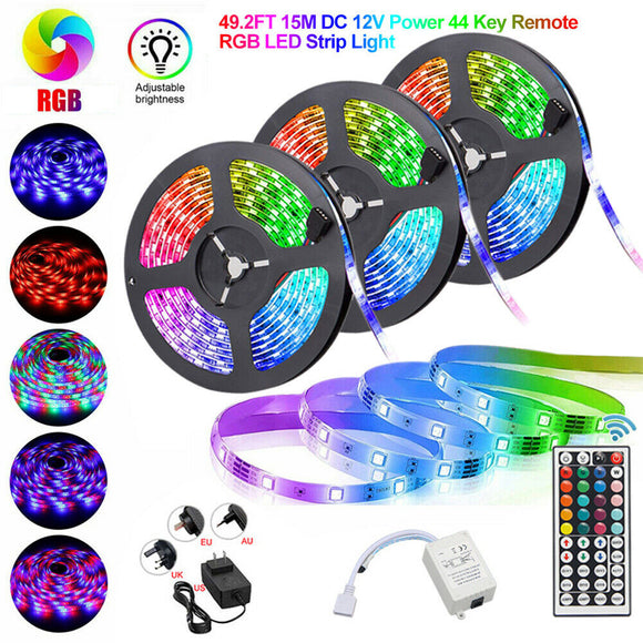 15M 10M 5M RGB 300LEDs 3528 LED Strip Light SMD + 44Key Remote + 12V Power Kit