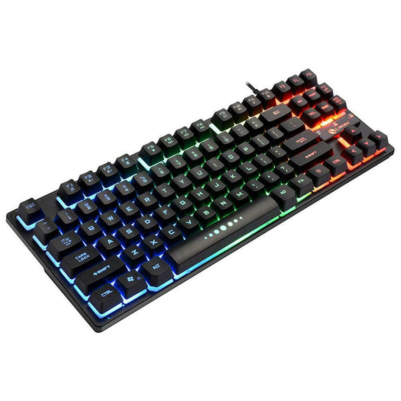 USB Wired 87 Keys Mechanical Feeling RGB Backlight PC Gaming Keyboard - Lifafa Denmark
