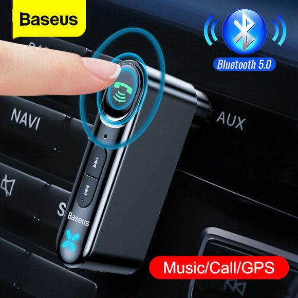 Baseus Bilmodtager Bluetooth5.0 Trådløs lyd Stereo Music AUX Adapter Mic - Lifafa Denmark