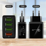 4 Multi-Ports Fast Quick Charge QC 3.0 USB Hub Wall Charger Adapter