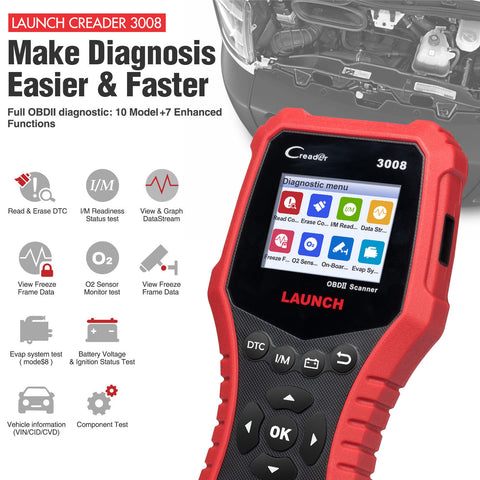 OBD2 Scanner OBDII Car Engine Check MIL code Diagnostic Tool Launch Creader 3008 - Lifafa Denmark