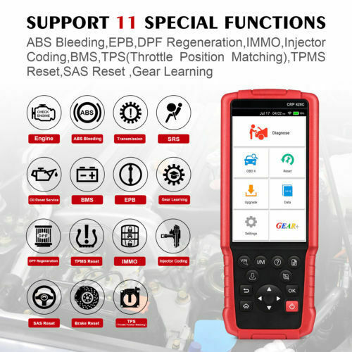LAUNCH X431 CRP 429C OBD2 Code Reader Test EngineABSAirbag + 11 Reset Function - Lifafa Denmark