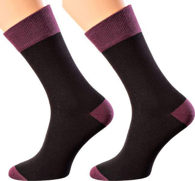 Bangkok Collection - Mercerized Cotton Socks - Crew Length - Sizes M-XL MEN SOCKS SOXESSORY M-L (6-10 MEN SHOE SIZE AND 7.5-11.5 WOMEN) BURGUNDY | BLACK