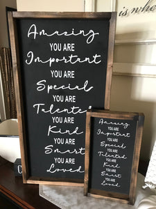 You Are Amazing  |  You Are Important  |  You are Talented  |  You Are Loved |  rustic wooden sign | farmhouse decor