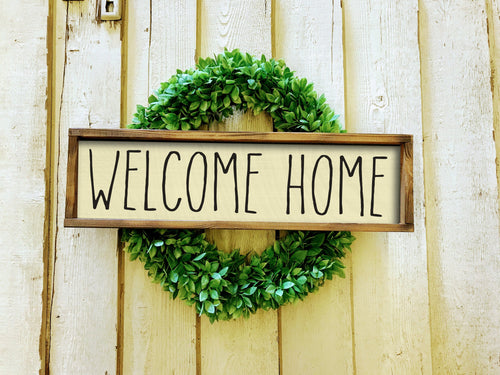 Welcome to Our Home Farmhouse Sign, Wooden Home Sign, Housewarming Present, Rustic Chic Decor, rae dunn style sign