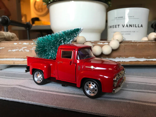 Vintage Red Pickup Truck Christmas Tree, Farmhouse Christmas Decor, Farmhouse Truck Tree, Vintage Truck Decor, Little Red Truck